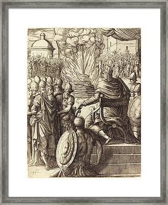 Pierre Woeiriot, French 1532-1599, Heraclius Sentencing Framed Print by Litz Collection