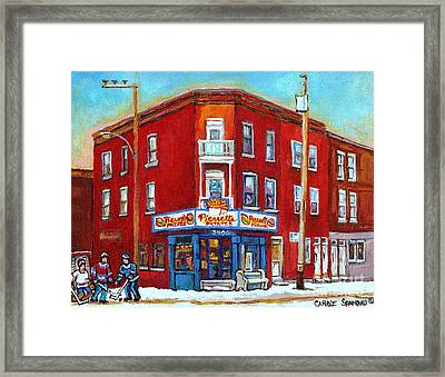Pierrette Patates Restaurant - Paintings Of Verdun - Verdun Winter Scenes -verdun Hockey Scenes Framed Print by Carole Spandau
