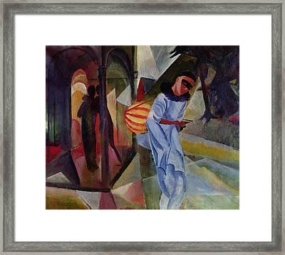 Pierrot, 1913 Oil On Canvas Framed Print by August Macke