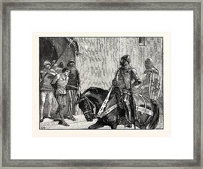 Piers Gaveston Before The Earl Of Warwick Framed Print by English School