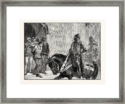 Piers Gaveston Before The Earl Of Warwick Framed Print