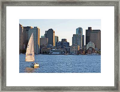 Piers Park Sailboat Framed Print by Toby McGuire