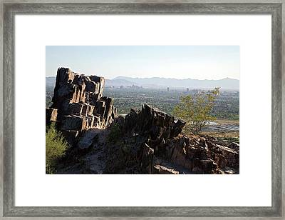 Piestewa Peak And The City Of Phoenix Framed Print by Jim West