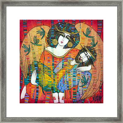 Pieta Of Icarus With Dragonflies Framed Print