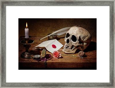 Vanitas With Skull-writting Utensils-watch And Anemone Framed Print by Levin Rodriguez