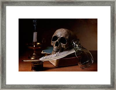 Vanitas With Snuffed Candle And Writing Utensils Framed Print