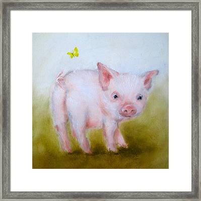 Pig And Butterfly Painting Framed Print