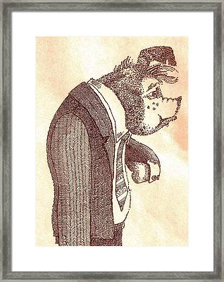 Framed Print featuring the drawing Pig In Suit by Larry Campbell