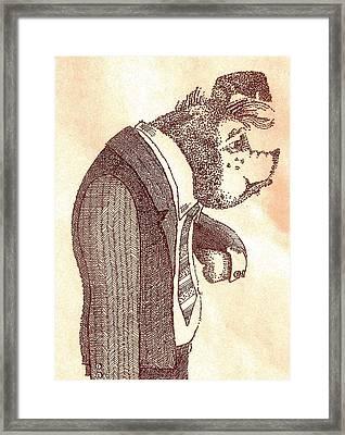 Pig In Suit Framed Print