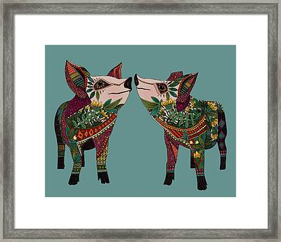 Pig Love Jade Framed Print by Sharon Turner