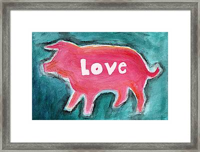 Pig Love Framed Print by Linda Woods
