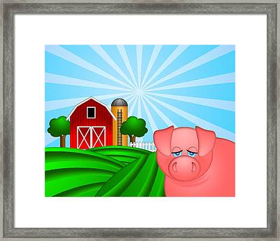 Pig On Green Pasture With Red Barn With Grain Silo  Framed Print by Jit Lim