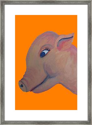 Pig On Orange Framed Print by Cherie Sexsmith