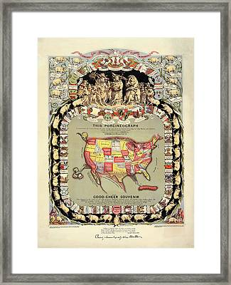 Pig-shaped Map Of The Usa Framed Print by Library Of Congress