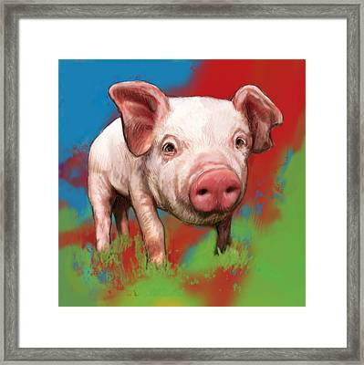 Pig Stylised Pop Modern Art Drawing Sketch Portrait Framed Print by Kim Wang