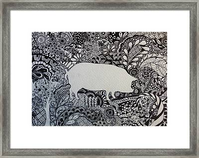Pig Tangle Black And White Ink Ooak By Pigatopia Framed Print by Shannon Ivins