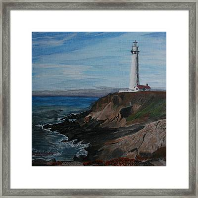 Pigeon Lighthouse Daytime Titrad Framed Print
