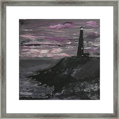 Pigeon Lighthouse Impasto Sunset Monochromatic Framed Print