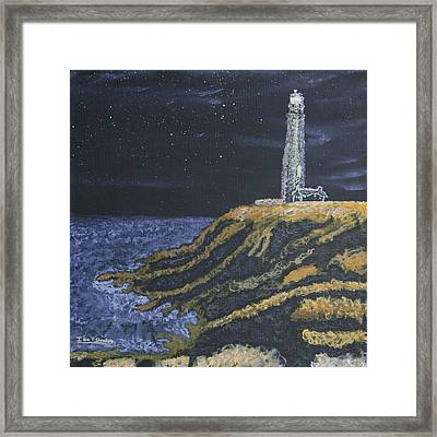 Pigeon Lighthouse Night Scumbling Complementary Colors Framed Print