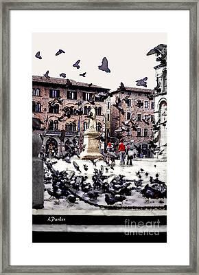 Pigeons Of Lucca Framed Print