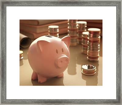 Piggy Bank And Coins Framed Print