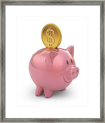 Piggy Bank And Gold Coin Framed Print by Ktsdesign