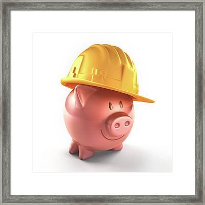 Piggy Bank And Hard Hat Framed Print