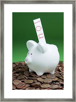 Piggy Bank On A Pile Of Pennies Framed Print