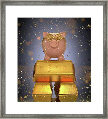 Piggy Bank On Gold Bullion Framed Print by Ktsdesign