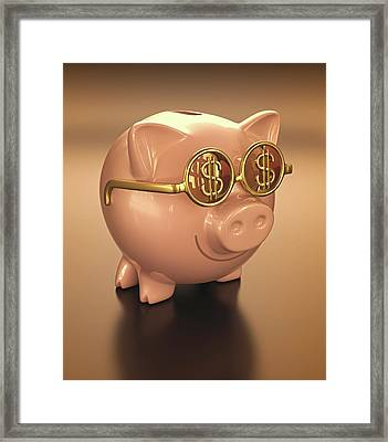 Piggy Bank Wearing Glasses Framed Print by Ktsdesign