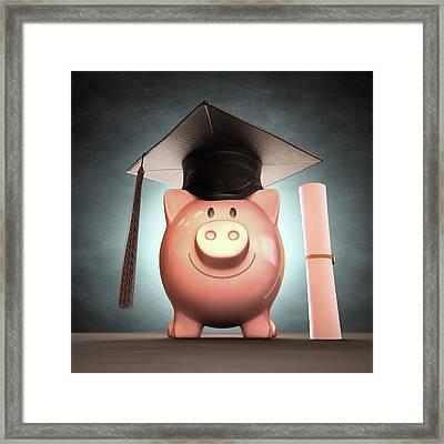 Piggy Bank Wearing Graduation Cap Framed Print by Ktsdesign