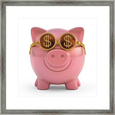 Piggy Bank With Sunglasses Framed Print