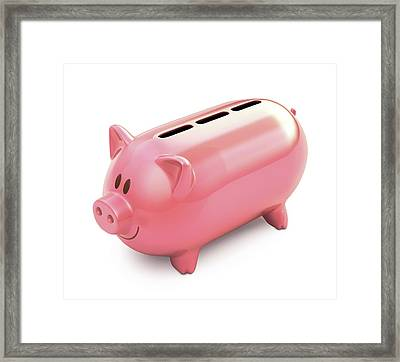 Piggy Bank With Three Slots Framed Print by Ktsdesign