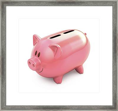 Piggy Bank With Two Slots Framed Print by Ktsdesign