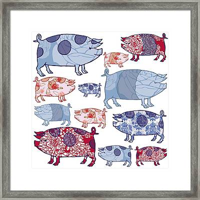 Piggy In The Middle Framed Print by Sarah Hough