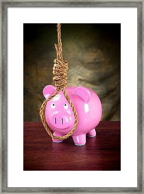 Piggybank And Noose Framed Print