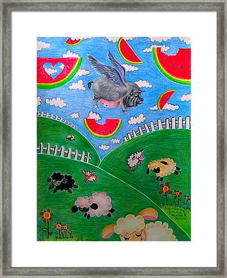 Pigs Can't Fly Framed Print by Denisse Del Mar Guevara