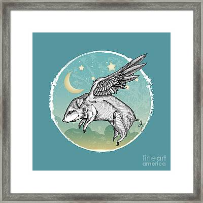 Pigs Fly Framed Print by Mary Machare