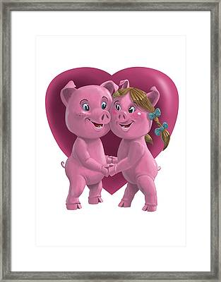 Pigs In Love Framed Print by Martin Davey