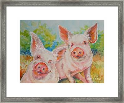Pigs Pink And Happy Framed Print