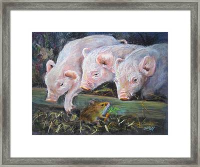 Pigs Vs Mouse Framed Print by Jieming Wang