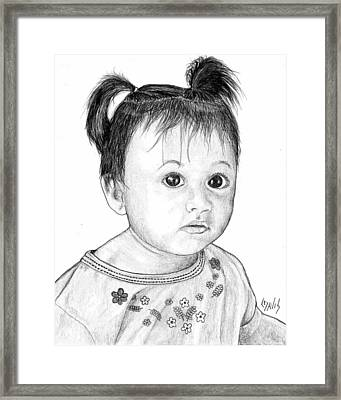 Framed Print featuring the drawing Pigtails 2 by Lew Davis