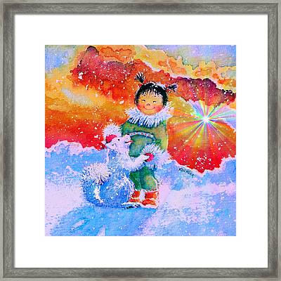 Pigtails And Wagging Tail Framed Print by Hanne Lore Koehler