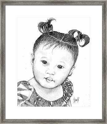 Framed Print featuring the drawing Pigtails by Lew Davis