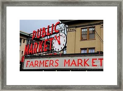 Pike Place Farmers Market Sign Framed Print