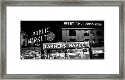 Pike Place Market At Night Framed Print by Tanya Harrison