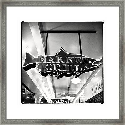 Pike Place Market Grill Sign Framed Print by Tanya Harrison
