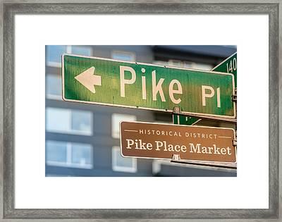 Pike Place Market Sign Framed Print by Steve Gadomski