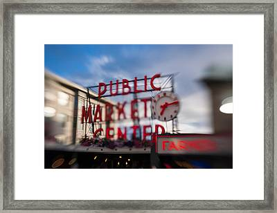 Pike Place Public Market Neon Sign Framed Print