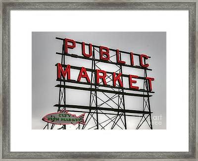 Pike Place Public Market Sign Framed Print by Tap On Photo